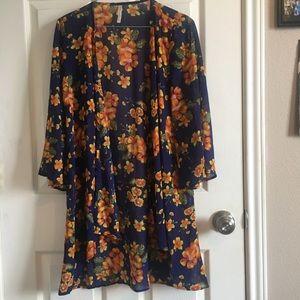 DNA couture blue/orange floral kimono